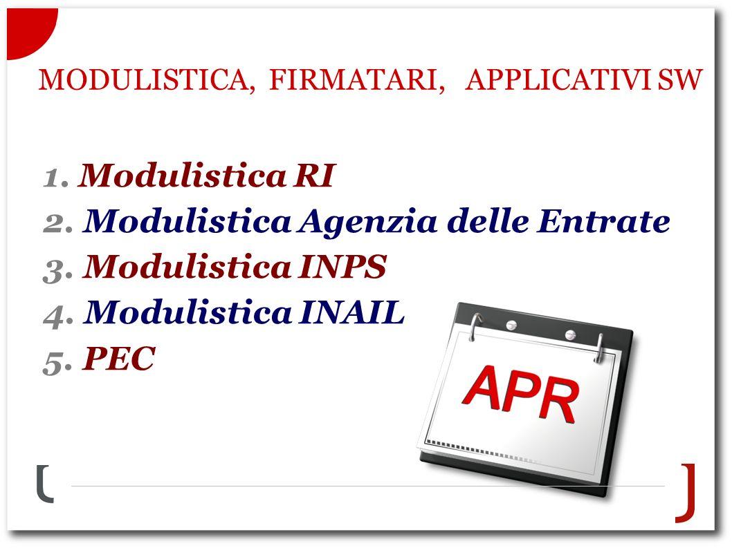 1. Modulistica RI 2. Modulistica Agenzia delle Entrate 3.