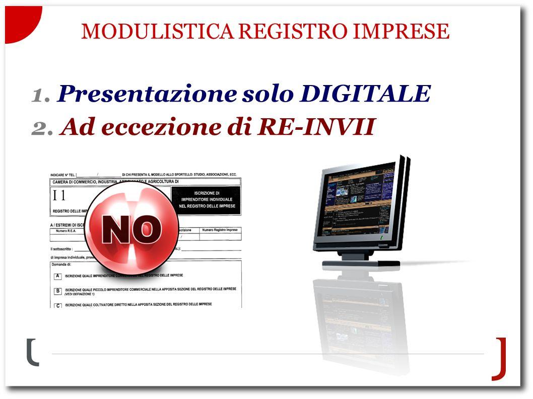 MODULISTICA REGISTRO IMPRESE 1. Presentazione solo DIGITALE 2. Ad eccezione di RE-INVII