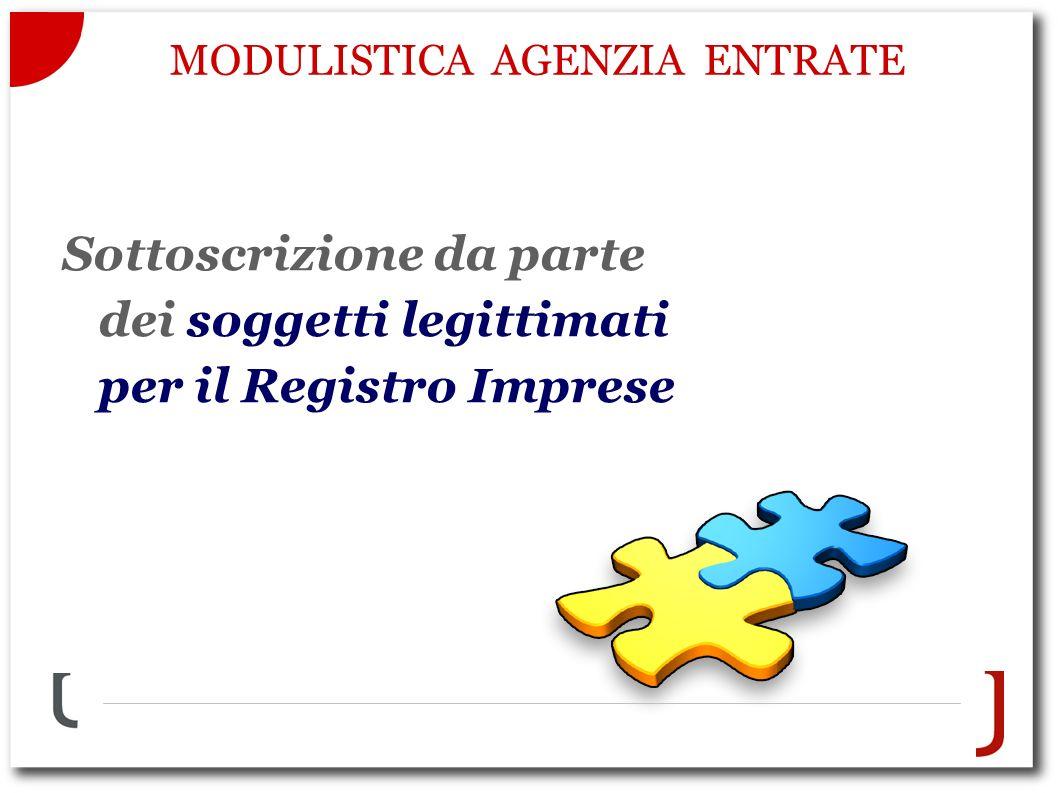 MODULISTICA AGENZIA ENTRATE Sottoscrizione da parte dei soggetti legittimati per il Registro Imprese