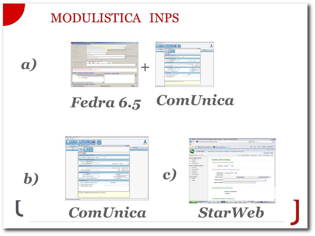 MODULISTICA INPS a) Fedra 6.5 ComUnica + b) c) StarWebComUnica