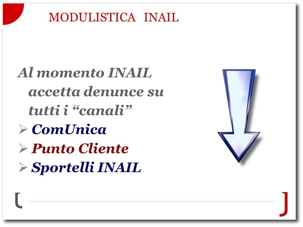MODULISTICA INAIL Al momento INAIL accetta denunce su tutti i canali ComUnica Punto Cliente Sportelli INAIL