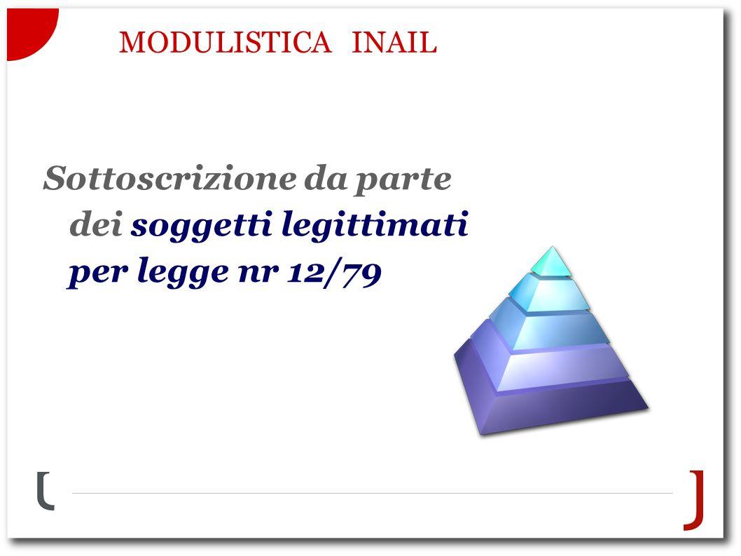 MODULISTICA INAIL Sottoscrizione da parte dei soggetti legittimati per legge nr 12/79