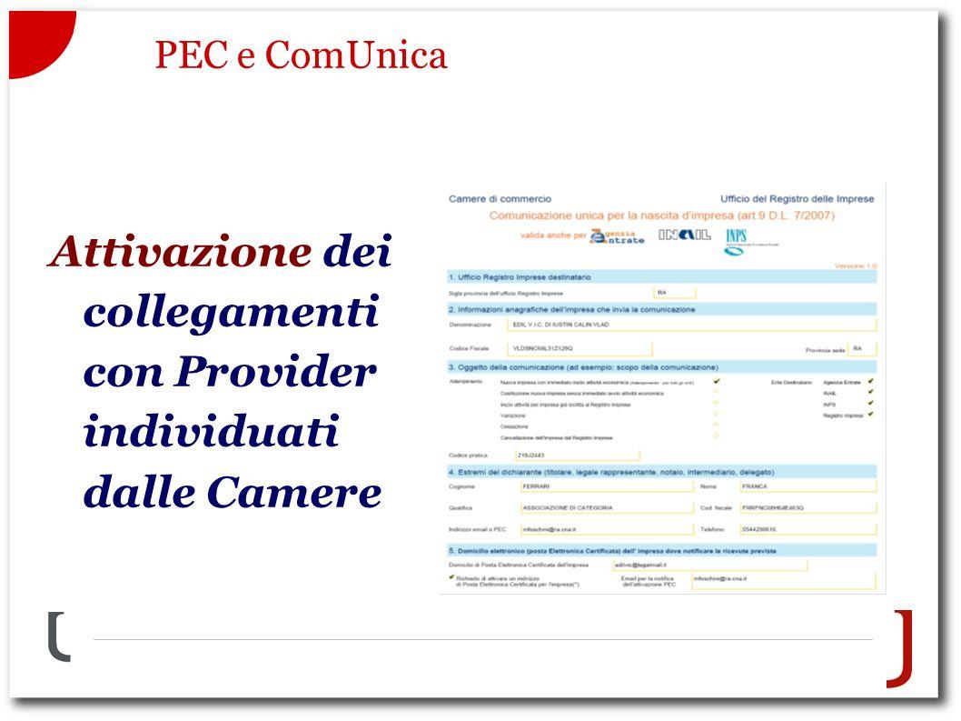 PEC e ComUnica Attivazione dei collegamenti con Provider individuati dalle Camere