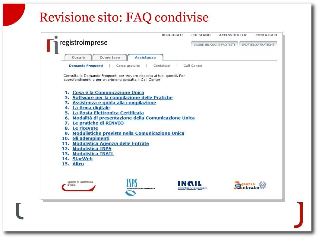 Revisione sito: FAQ condivise