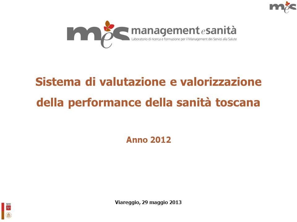 Sistema di valutazione e valorizzazione della performance della sanità toscana Anno 2012 Viareggio, 29 maggio 2013