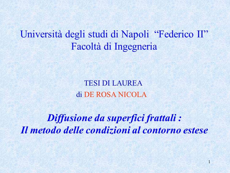 1 Università degli studi di Napoli Federico II Facoltà di Ingegneria TESI DI LAUREA Diffusione da superfici frattali : Il metodo delle condizioni al c