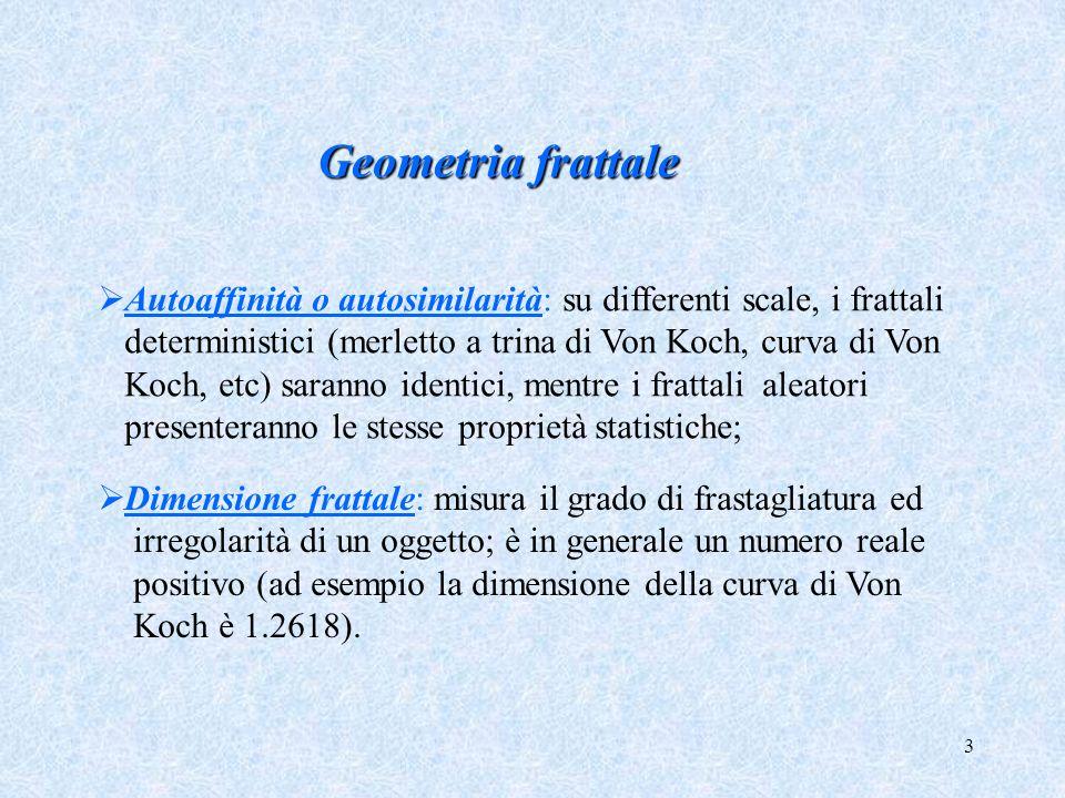 3 Geometria frattale Autoaffinità o autosimilarità: su differenti scale, i frattali deterministici (merletto a trina di Von Koch, curva di Von Koch, e