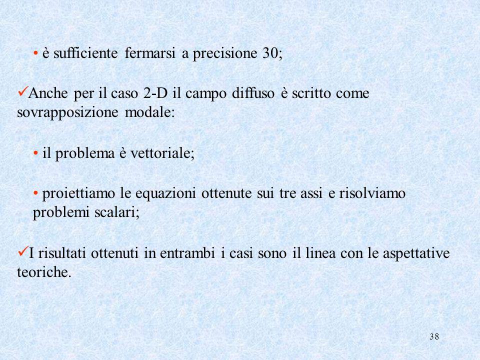 38 è sufficiente fermarsi a precisione 30; Anche per il caso 2-D il campo diffuso è scritto come sovrapposizione modale: il problema è vettoriale; pro