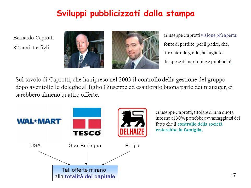 17 Sviluppi pubblicizzati dalla stampa Sul tavolo di Caprotti, che ha ripreso nel 2003 il controllo della gestione del gruppo dopo aver tolto le deleg