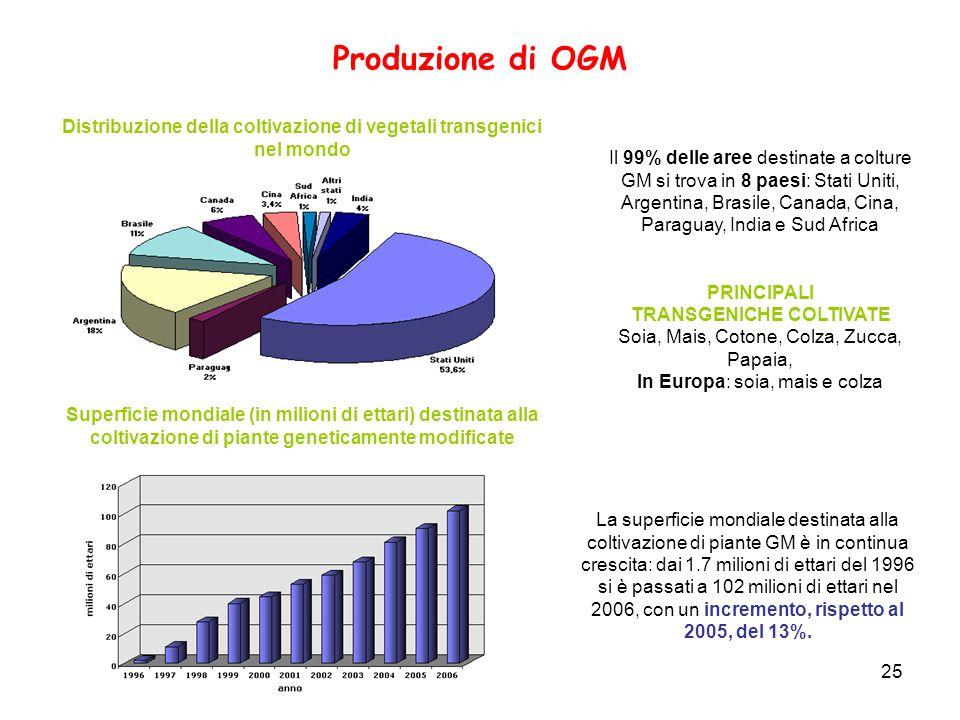 25 Produzione di OGM La superficie mondiale destinata alla coltivazione di piante GM è in continua crescita: dai 1.7 milioni di ettari del 1996 si è p