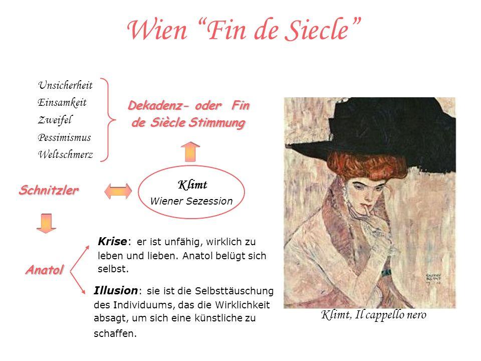 Wien Fin de Siecle Klimt Wiener Sezession Schnitzler Krise: er ist unfähig, wirklich zu leben und lieben.