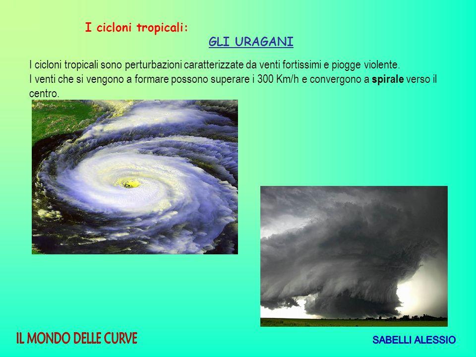 I cicloni tropicali: GLI URAGANI I cicloni tropicali sono perturbazioni caratterizzate da venti fortissimi e piogge violente. I venti che si vengono a