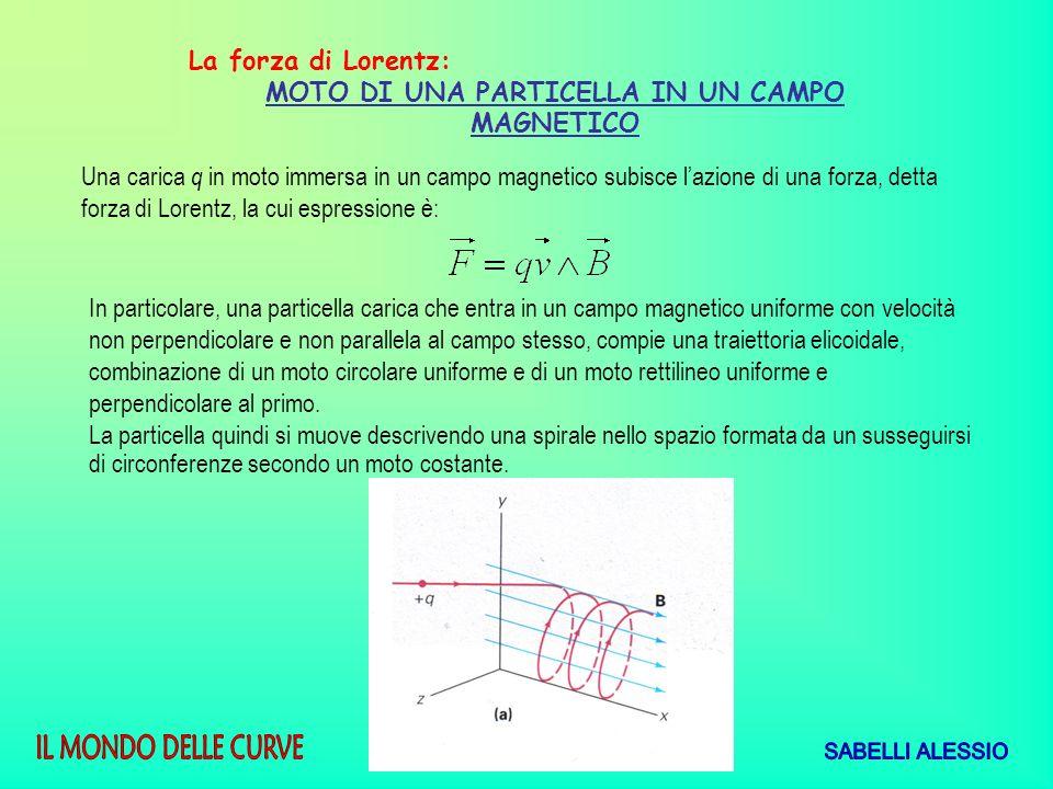 La forza di Lorentz: MOTO DI UNA PARTICELLA IN UN CAMPO MAGNETICO Una carica q in moto immersa in un campo magnetico subisce lazione di una forza, det