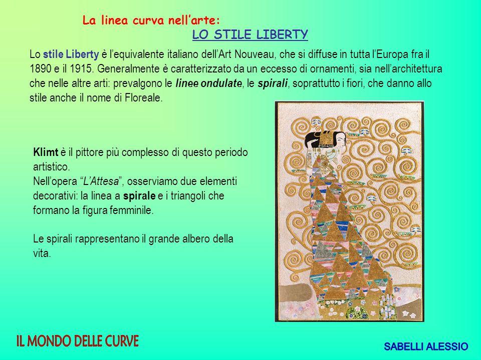 La linea curva nellarte: LO STILE LIBERTY Lo stile Liberty è lequivalente italiano dellArt Nouveau, che si diffuse in tutta lEuropa fra il 1890 e il 1