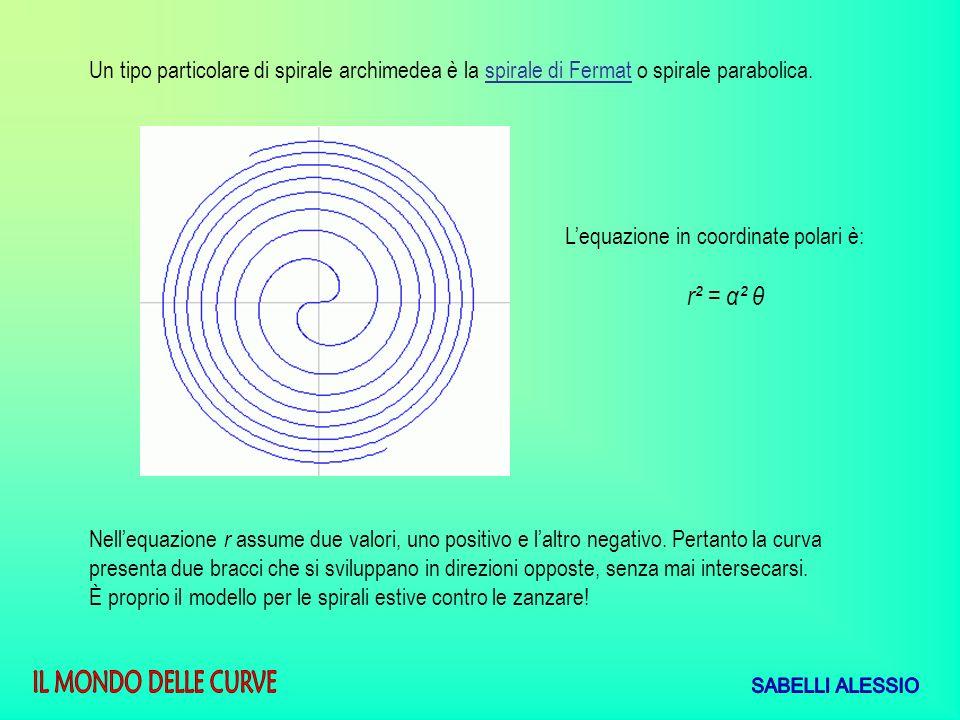 Un tipo particolare di spirale archimedea è la spirale di Fermat o spirale parabolica. Lequazione in coordinate polari è: r² = α² θ Nellequazione r as