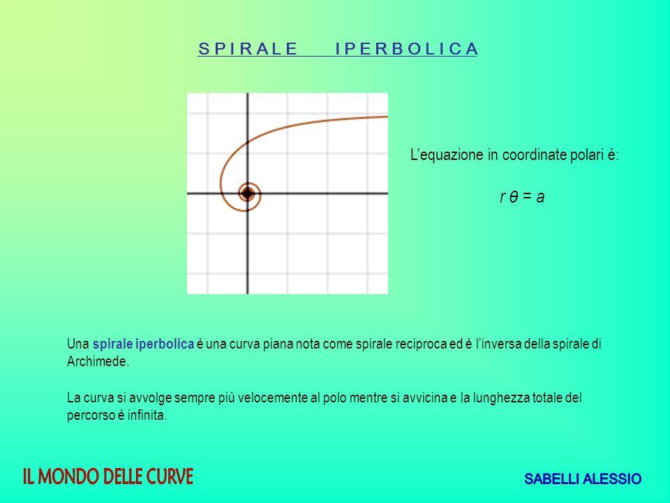 S P I R A L E I P E R B O L I C A Una spirale iperbolica è una curva piana nota come spirale reciproca ed è linversa della spirale di Archimede. La cu