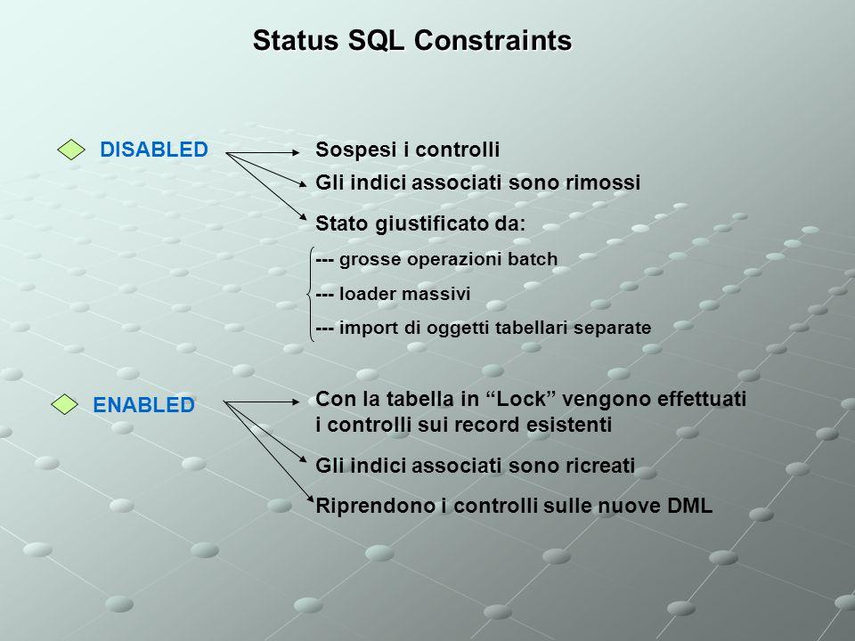 Status SQL Constraints DISABLED ENABLED Sospesi i controlli Gli indici associati sono rimossi Stato giustificato da: --- grosse operazioni batch --- loader massivi --- import di oggetti tabellari separate Con la tabella in Lock vengono effettuati i controlli sui record esistenti Gli indici associati sono ricreati Riprendono i controlli sulle nuove DML