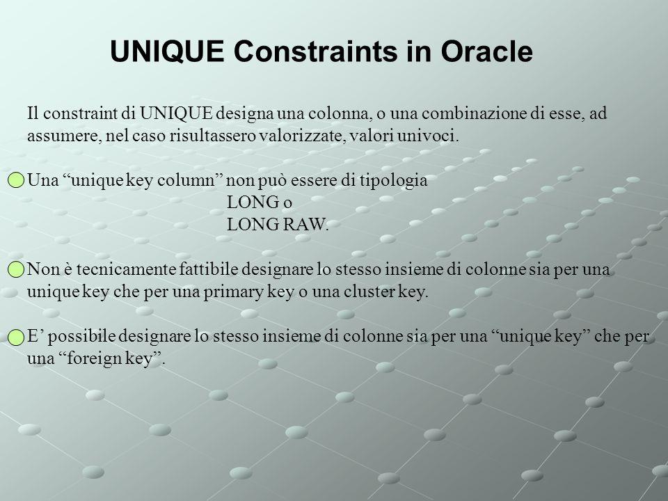 Il constraint di UNIQUE designa una colonna, o una combinazione di esse, ad assumere, nel caso risultassero valorizzate, valori univoci.