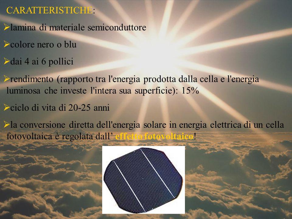 lamina di materiale semiconduttore colore nero o blu dai 4 ai 6 pollici rendimento (rapporto tra l'energia prodotta dalla cella e l'energia luminosa c