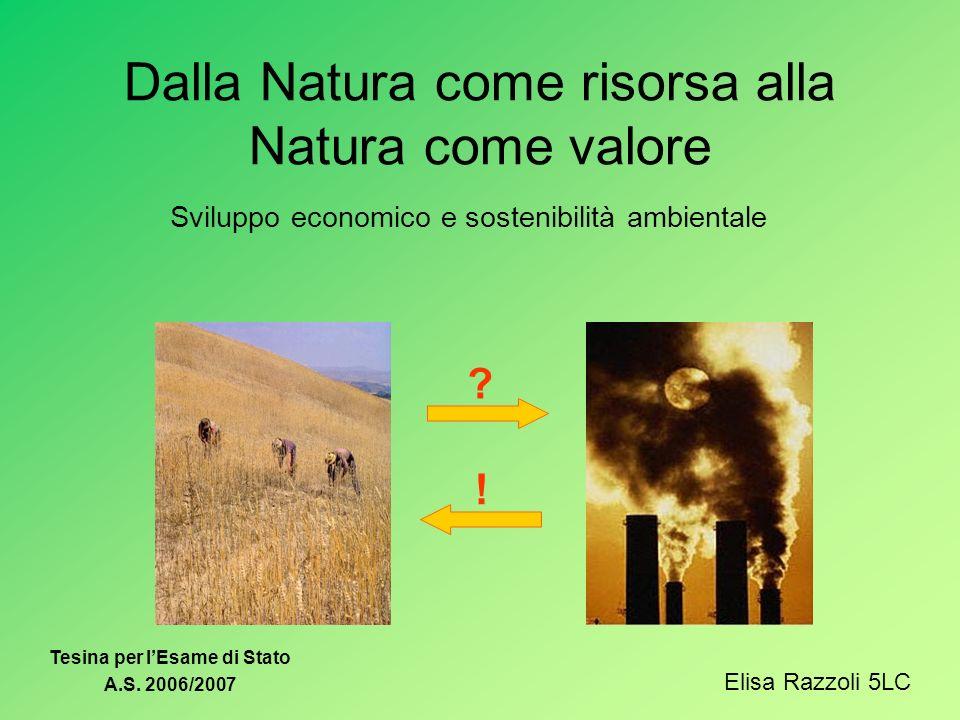 Dalla Natura come risorsa alla Natura come valore Sviluppo economico e sostenibilità ambientale ? ! Elisa Razzoli 5LC Tesina per lEsame di Stato A.S.
