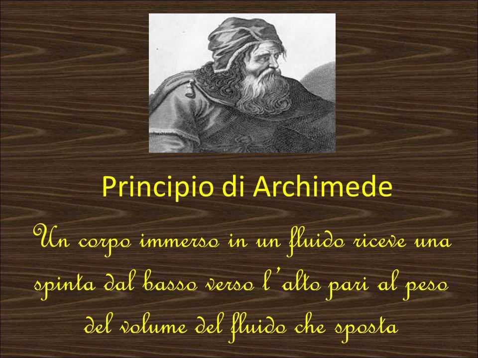 Un corpo immerso in un fluido riceve una spinta dal basso verso lalto pari al peso del volume del fluido che sposta Principio di Archimede