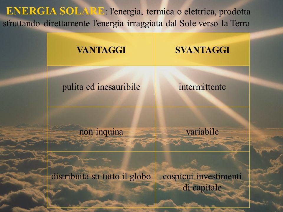ENERGIA SOLARE : l energia, termica o elettrica, prodotta sfruttando direttamente l energia irraggiata dal Sole verso la Terra VANTAGGISVANTAGGI pulita ed inesauribileintermittente non inquinavariabile distribuita su tutto il globocospicui investimenti di capitale