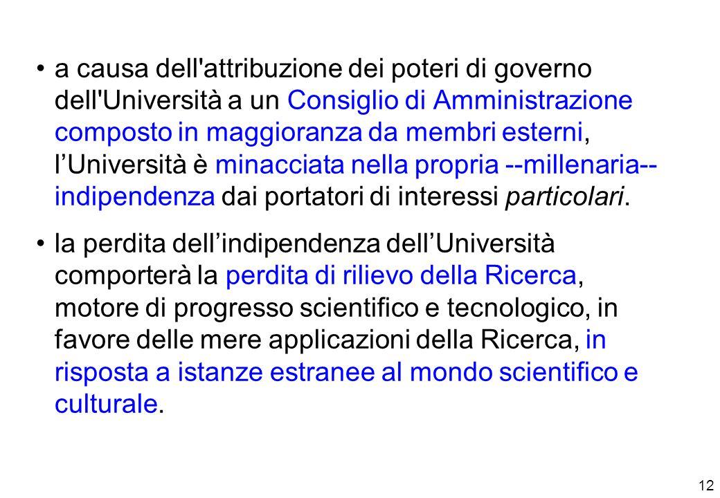 12 a causa dell attribuzione dei poteri di governo dell Università a un Consiglio di Amministrazione composto in maggioranza da membri esterni, lUniversità è minacciata nella propria --millenaria-- indipendenza dai portatori di interessi particolari.