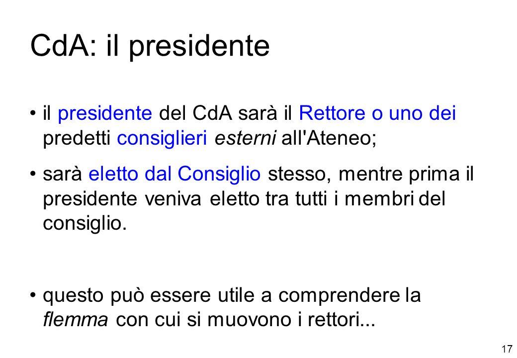 17 CdA: il presidente il presidente del CdA sarà il Rettore o uno dei predetti consiglieri esterni all Ateneo; sarà eletto dal Consiglio stesso, mentre prima il presidente veniva eletto tra tutti i membri del consiglio.