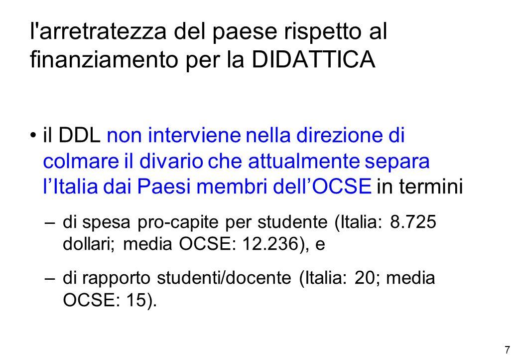 7 l arretratezza del paese rispetto al finanziamento per la DIDATTICA il DDL non interviene nella direzione di colmare il divario che attualmente separa lItalia dai Paesi membri dellOCSE in termini –di spesa pro-capite per studente (Italia: 8.725 dollari; media OCSE: 12.236), e –di rapporto studenti/docente (Italia: 20; media OCSE: 15).