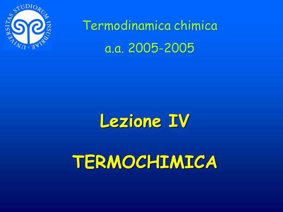 Lezione IV TERMOCHIMICA Termodinamica chimica a.a. 2005-2005 Termodinamica chimica a.a. 2005-2005