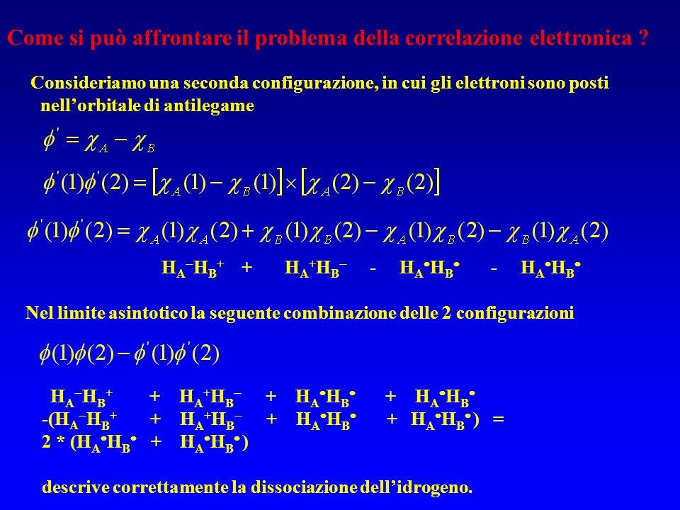 Come si può affrontare il problema della correlazione elettronica ? Consideriamo una seconda configurazione, in cui gli elettroni sono posti nellorbit