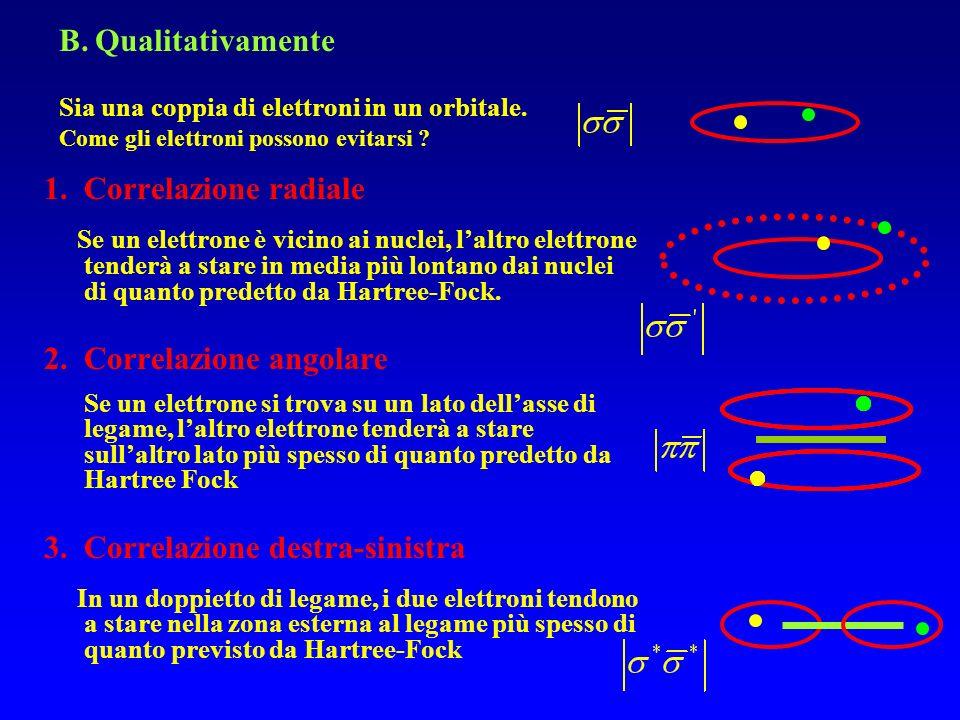 1.Correlazione radiale Se un elettrone è vicino ai nuclei, laltro elettrone tenderà a stare in media più lontano dai nuclei di quanto predetto da Hart