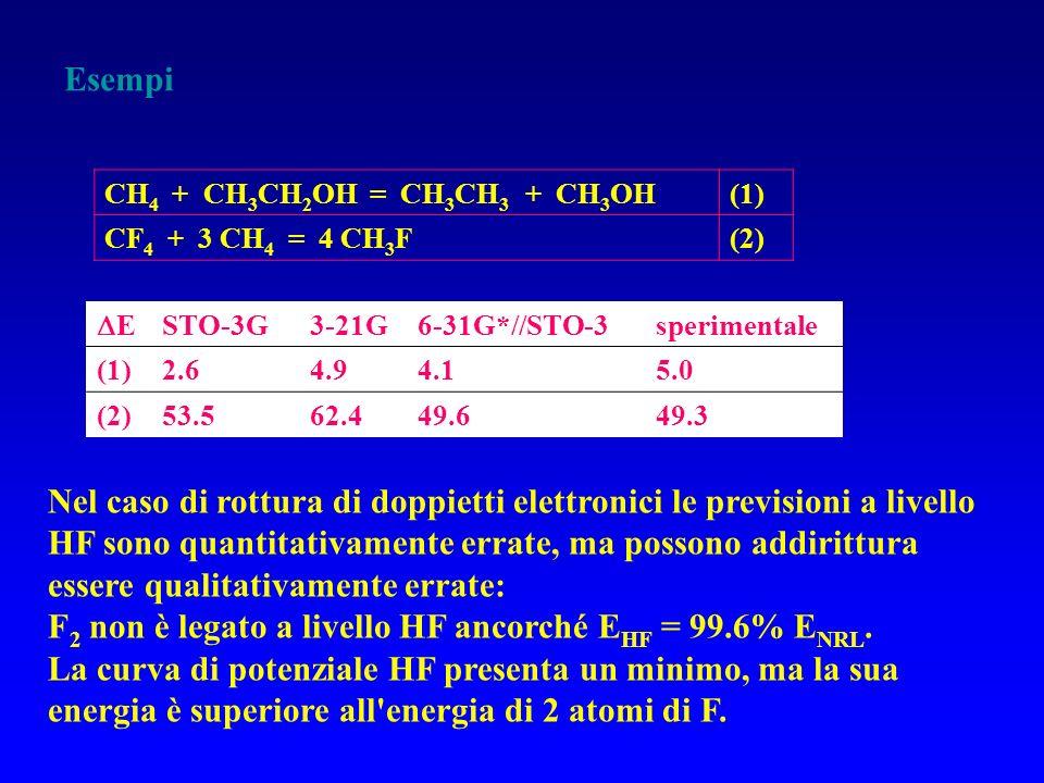 Esempi CH 4 + CH 3 CH 2 OH = CH 3 CH 3 + CH 3 OH(1) CF 4 + 3 CH 4 = 4 CH 3 F(2) E STO-3G3-21G6-31G*//STO-3sperimentale (1)2.64.94.15.0 (2)53.562.449.6