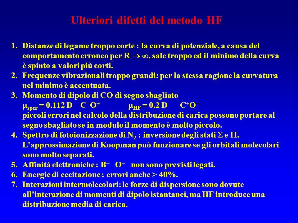 Ulteriori difetti del metodo HF 1.Distanze di legame troppo corte : la curva di potenziale, a causa del comportamento erroneo per R, sale troppo ed il