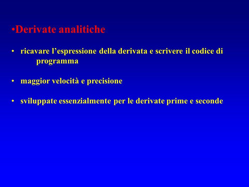 Derivate analitiche ricavare lespressione della derivata e scrivere il codice di programma maggior velocità e precisione sviluppate essenzialmente per le derivate prime e seconde