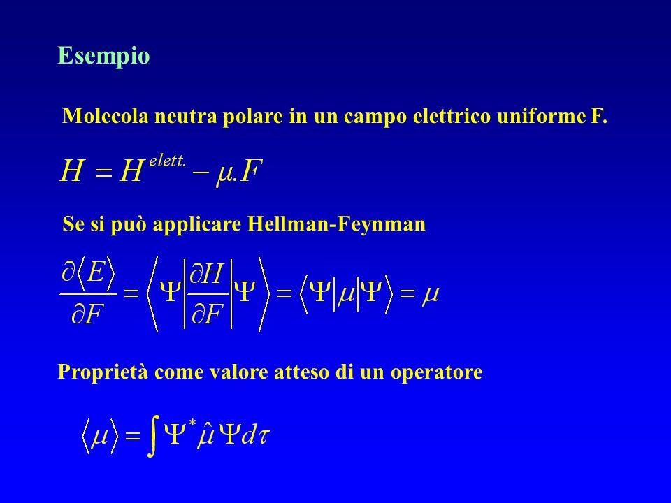 Esempio Molecola neutra polare in un campo elettrico uniforme F. Proprietà come valore atteso di un operatore Se si può applicare Hellman-Feynman