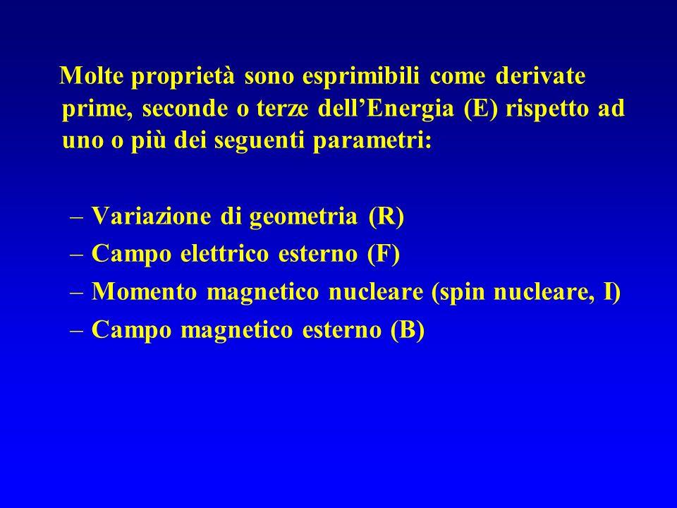 DERIVATE RISPETTO ALLE COORDINATE NUCLEARI Nellapprossimazione di Born-Oppenheimer i nuclei si muovono sulla superficie di energia potenziale E(x) funzione della geometria nucleare x Gradiente Hessiano Le derivate geometriche sono: 1.usate per localizzare e caratterizzare i punti critici 2.legate alle costanti spettroscopiche e alle frequenze vibrazionali.