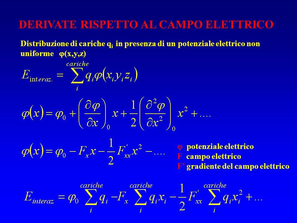 DERIVATE RISPETTO AL CAMPO ELETTRICO Distribuzione di cariche q i in presenza di un potenziale elettrico non uniforme (x,y,z) potenziale elettrico F c