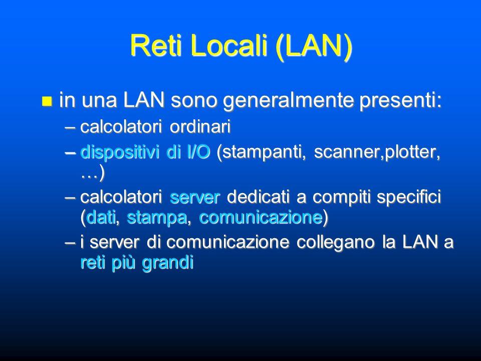 in una LAN sono generalmente presenti: in una LAN sono generalmente presenti: –calcolatori ordinari –dispositivi di I/O (stampanti, scanner,plotter, …) –calcolatori server dedicati a compiti specifici (dati, stampa, comunicazione) –i server di comunicazione collegano la LAN a reti più grandi