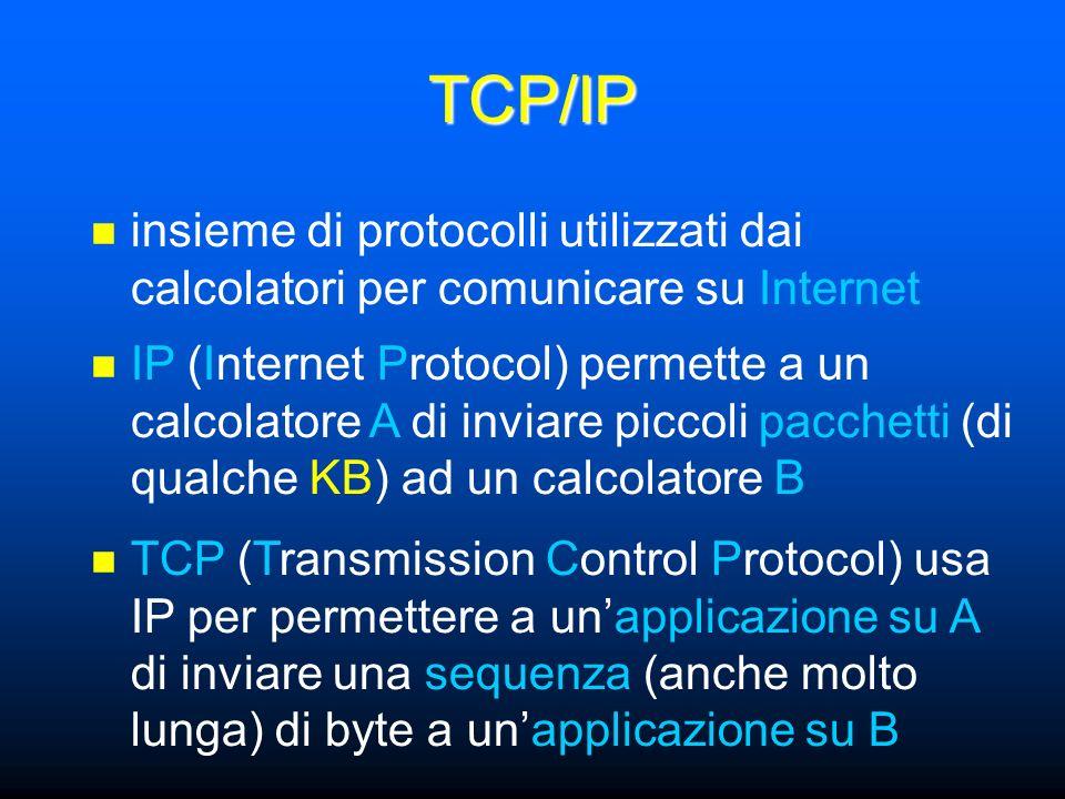 TCP/IP insieme di protocolli utilizzati dai calcolatori per comunicare su Internet IP (Internet Protocol) permette a un calcolatore A di inviare piccoli pacchetti (di qualche KB) ad un calcolatore B TCP (Transmission Control Protocol) usa IP per permettere a unapplicazione su A di inviare una sequenza (anche molto lunga) di byte a unapplicazione su B