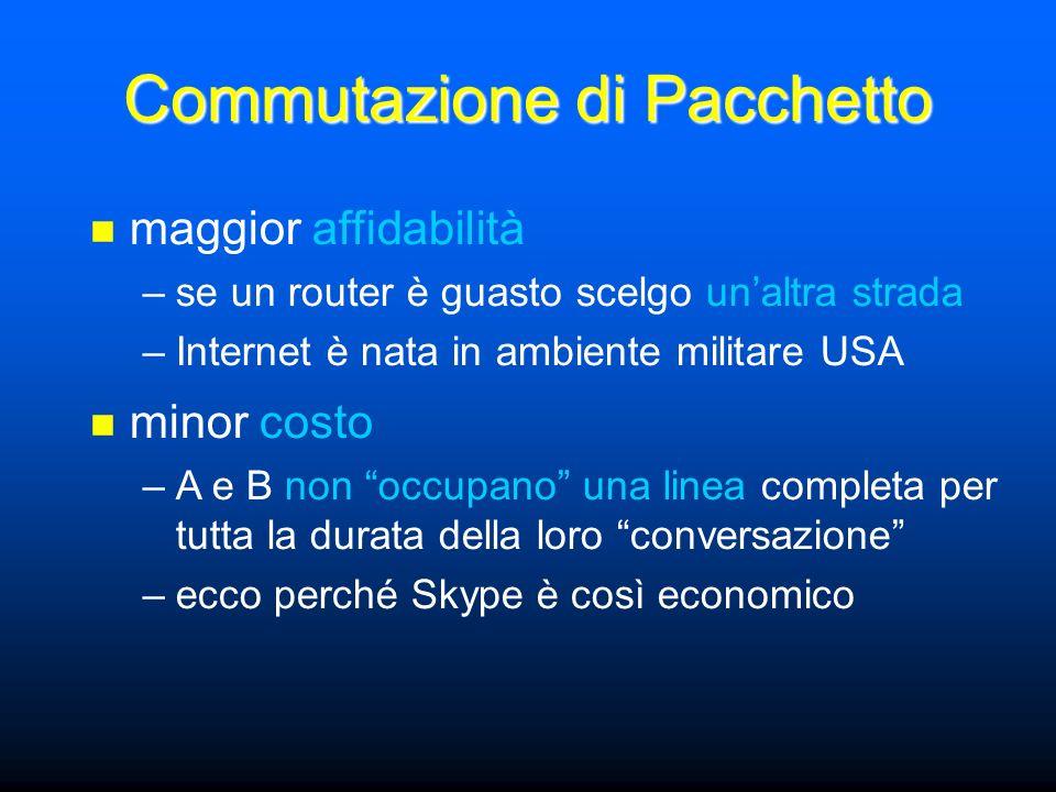 maggior affidabilità –se un router è guasto scelgo unaltra strada –Internet è nata in ambiente militare USA Commutazione di Pacchetto minor costo –A e B non occupano una linea completa per tutta la durata della loro conversazione –ecco perché Skype è così economico