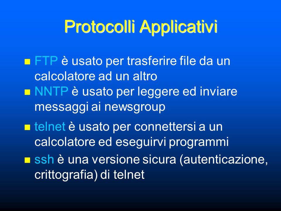 Protocolli Applicativi FTP è usato per trasferire file da un calcolatore ad un altro NNTP è usato per leggere ed inviare messaggi ai newsgroup telnet è usato per connettersi a un calcolatore ed eseguirvi programmi ssh è una versione sicura (autenticazione, crittografia) di telnet