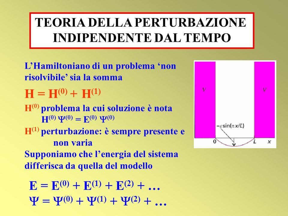 LHamiltoniano di un problema non risolvibile sia la somma H = H (0) + H (1) H (0) problema la cui soluzione è nota H (0) (0) = E (0) (0) H (1) perturb