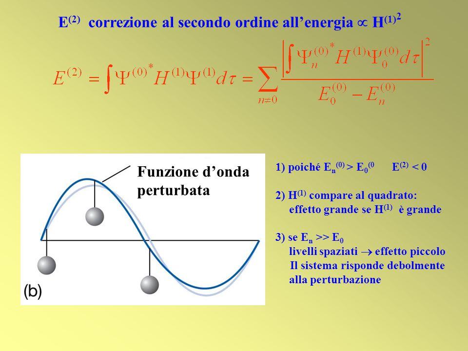 Funzione donda perturbata E (2) correzione al secondo ordine allenergia H (1) 2 1) poiché E n (0) > E 0 (0 E (2) < 0 2) H (1) compare al quadrato: eff