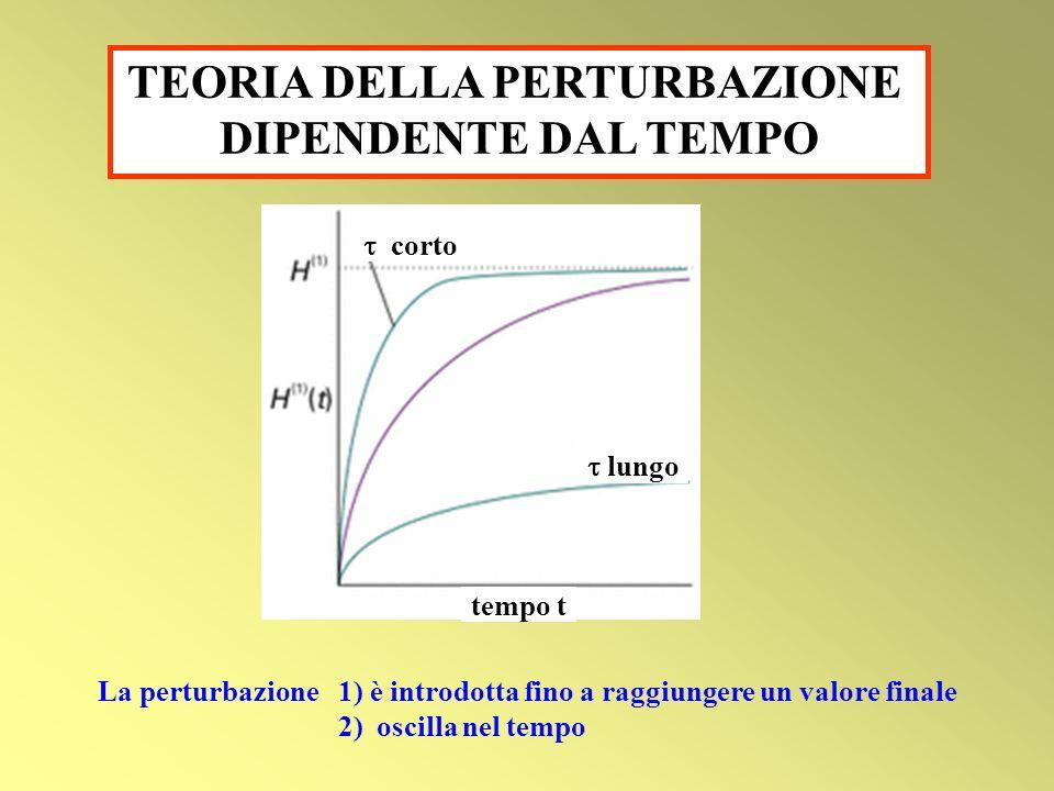 TEORIA DELLA PERTURBAZIONE DIPENDENTE DAL TEMPO corto lungo tempo t La perturbazione 1) è introdotta fino a raggiungere un valore finale 2) oscilla ne