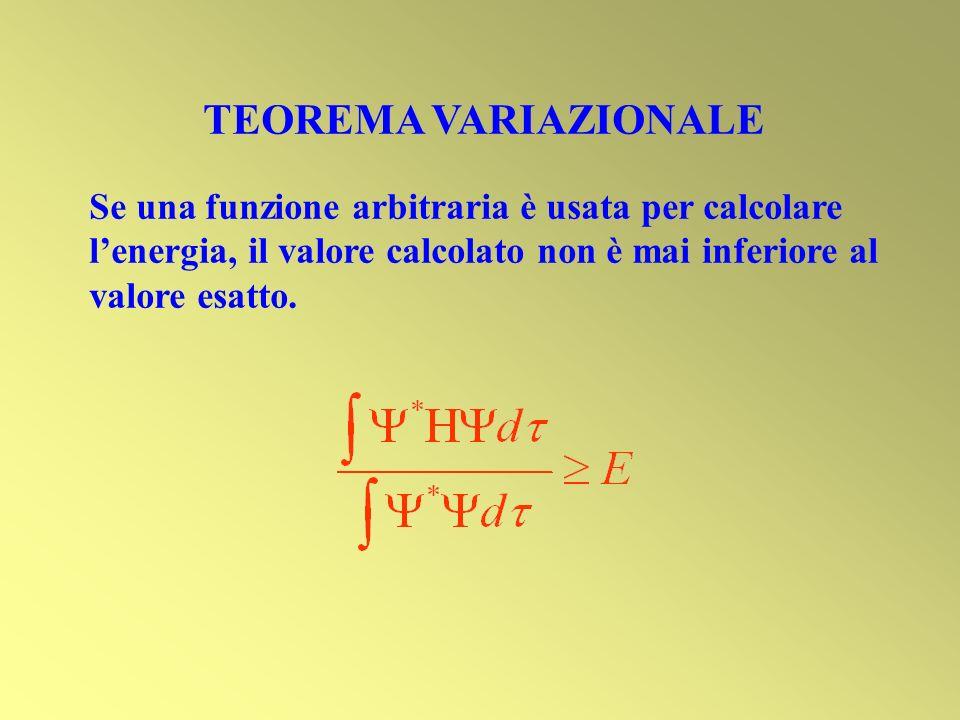 TEOREMA VARIAZIONALE Se una funzione arbitraria è usata per calcolare lenergia, il valore calcolato non è mai inferiore al valore esatto.