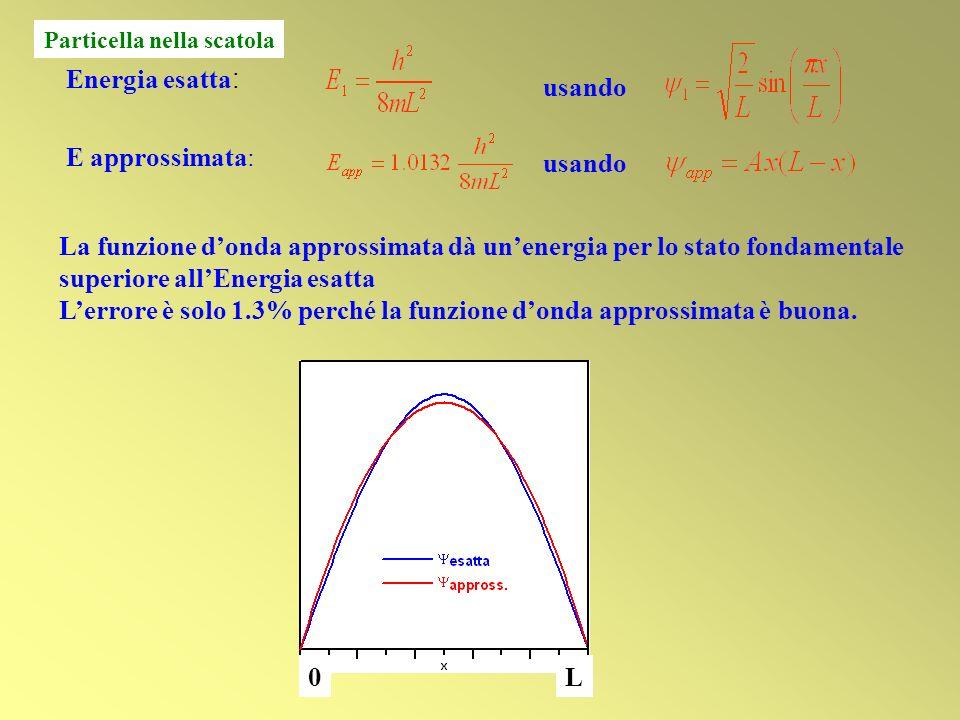 usando Energia esatta : usando E approssimata: La funzione donda approssimata dà unenergia per lo stato fondamentale superiore allEnergia esatta Lerro
