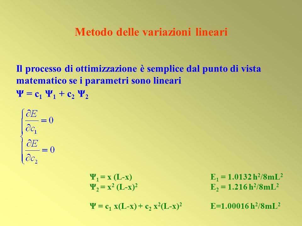 Ψ 1 = x (L-x) E 1 = 1.0132 h 2 /8mL 2 Ψ 2 = x 2 (L-x) 2 E 2 = 1.216 h 2 /8mL 2 Ψ = c 1 x(L-x) + c 2 x 2 (L-x) 2 E=1.00016 h 2 /8mL 2 Metodo delle vari