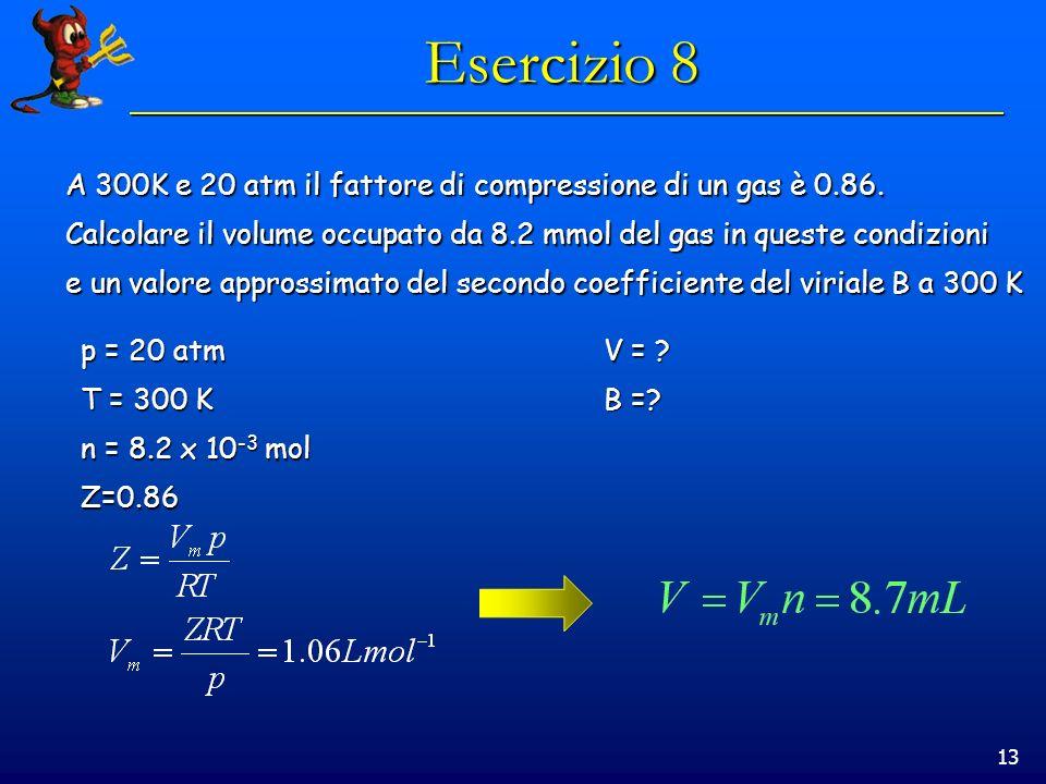13 Esercizio 8 A 300K e 20 atm il fattore di compressione di un gas è 0.86. Calcolare il volume occupato da 8.2 mmol del gas in queste condizioni e un