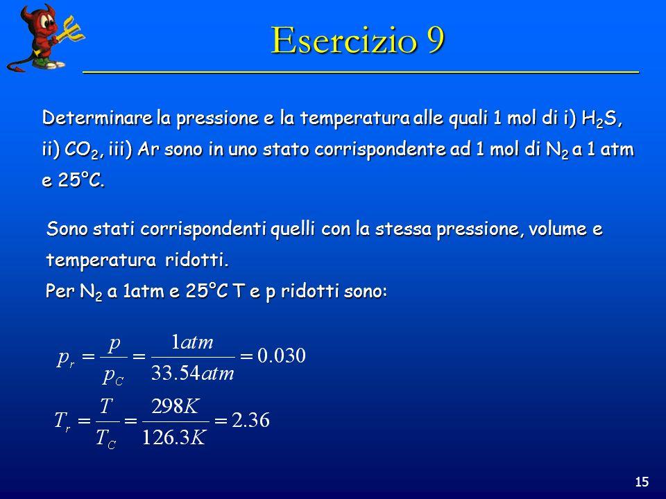 15 Esercizio 9 Determinare la pressione e la temperatura alle quali 1 mol di i) H 2 S, ii) CO 2, iii) Ar sono in uno stato corrispondente ad 1 mol di